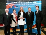 Niamh Murphy, Blarney/Inniscarra AC is the Cork City Sports Athletics Person of the Month in Association with The River Lee Hotel, Cork 96FM C103 and the Evening Echo. Also in picture L to R., Tony O'Connell, Chairman CCS, Elaine Fitzgerald, Cork 96FM C103, Frank Walley, President CCS and Ruairi O'Connor, GM, The River Lee Hotel
