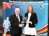 ony O'Connell Chairman, Presenting the Cork City Sports Athletics Person of the Month Award to Niamh Murphy, Blarney / Inniscarra AC. Picture