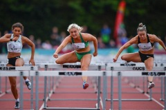 Sarah Lavin of Ireland, centre, and Christie Moerman of Canada, competing in the Women's 100m Hurdles event, sponsored by O'Leary Insurances, during the BAM Cork City Sports at CIT Athletics Stadium in Bishopstown, Cork. Photo by Sam Barnes/Sportsfile