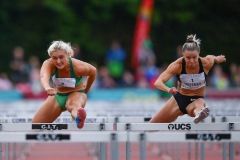 Sarah Lavin of Ireland, left, and Christie Moerman of Canada competing in the Women's 100m Hurdles event, sponsored by O'Leary Insurances, during the BAM Cork City Sports at CIT Athletics Stadium in Bishopstown, Cork. Photo by Sam Barnes/Sportsfile