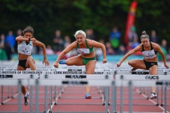 Athletes, from left, Yasmin Miller of Great Britain, Sarah Lavin of Ireland and Christie Moerman of Canada competing in the Women's 100m Hurdles event, sponsored by O'Leary Insurances, during the BAM Cork City Sports at CIT Athletics Stadium in Bishopstown, Cork. Photo by Sam Barnes/Sportsfile