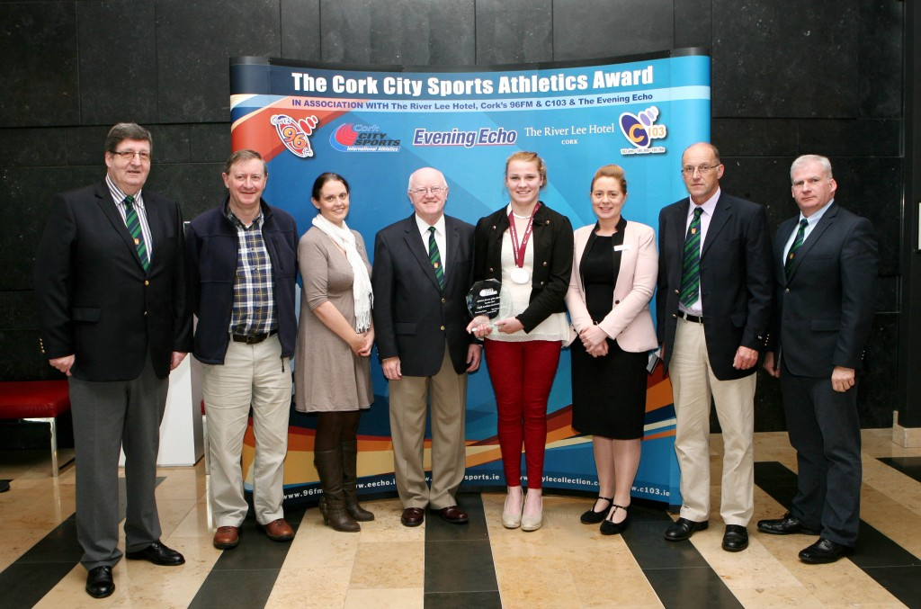 At the River Lee Hotel Noelle Lenihan ( North Cork AC ) and Silver Medalist at the World Paralympic Games in Doha receives the Cork City Sports Athletics Person of the Month Award. Included in picture L to R., Terry O'Rourke CCS, Noel Spillane, Evening Echo, Elaine Fitzgerald, Cork 96FM C103, Tony O'Connell CCS, Mary O'Brien, River Lee Hotel, Liam O'Brien, CCS and Donal Murnane CCS. Picture. M. Collins.