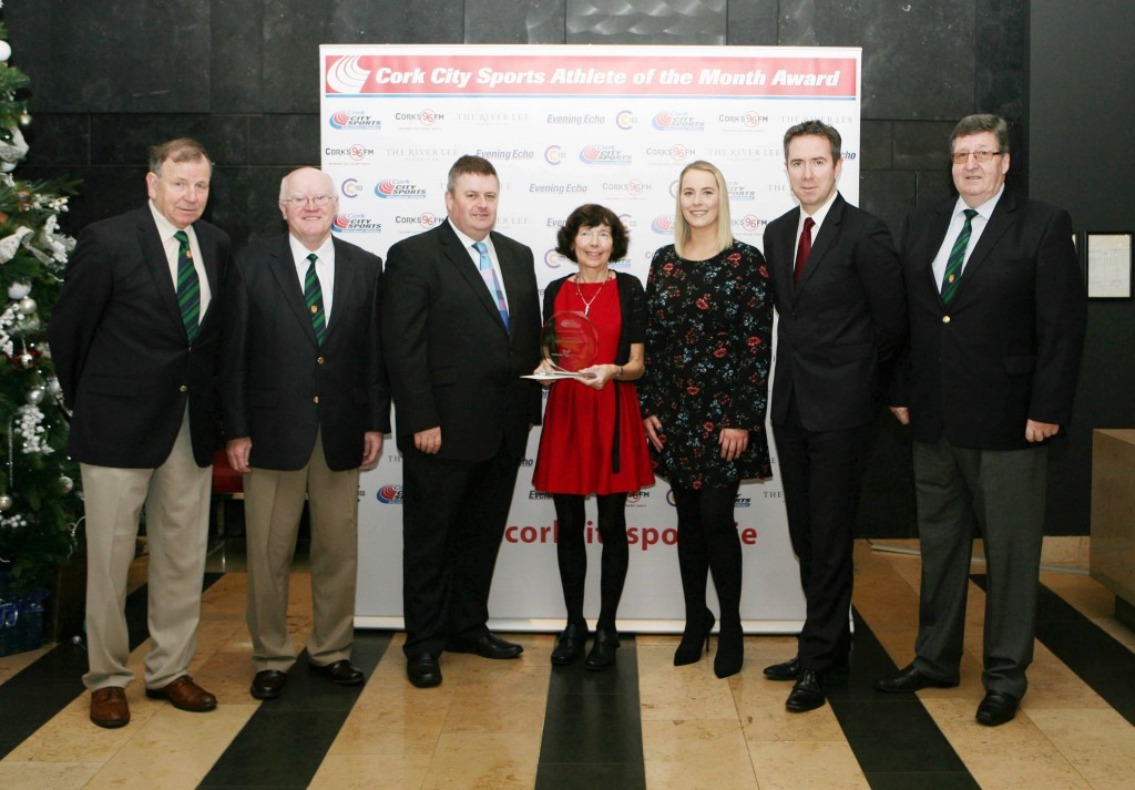 L to R., Frank Walley, President CCS, Tony O'Connell, Chairman CCS, Kieran McGeary, CEO Cork 96FM C103, Carmel Parnell, Nicola Cullinane, Marketing Executive Evening Echo, Ruairi O'Connor, GM The River Lee and Terry O'Rourke, Secretary Cork City Sports. Picture. M. Collins