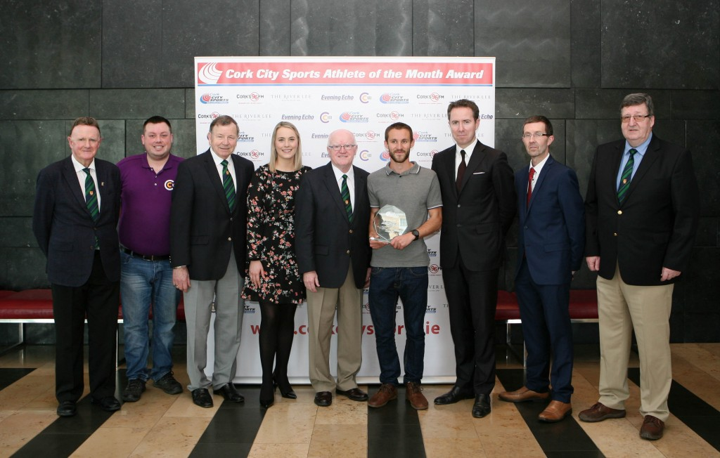 L to R., Michael O'Connell CCS, Darren Johnston, Cork 96FM C103, Frank Walley, President CCS, Nicola Cullinane, Marketing Executive, Evening Echo, Tony O'Connell Chairman CCS, Alex Wright, Leevale A.C. (Recipient), Ruairi O'Connor, General Manager, The River Lee, Rory Noonan, Deputy Editor, Evening Echo and Terry O'Rourke, Secretary CCS. Picture. Martin Collins.