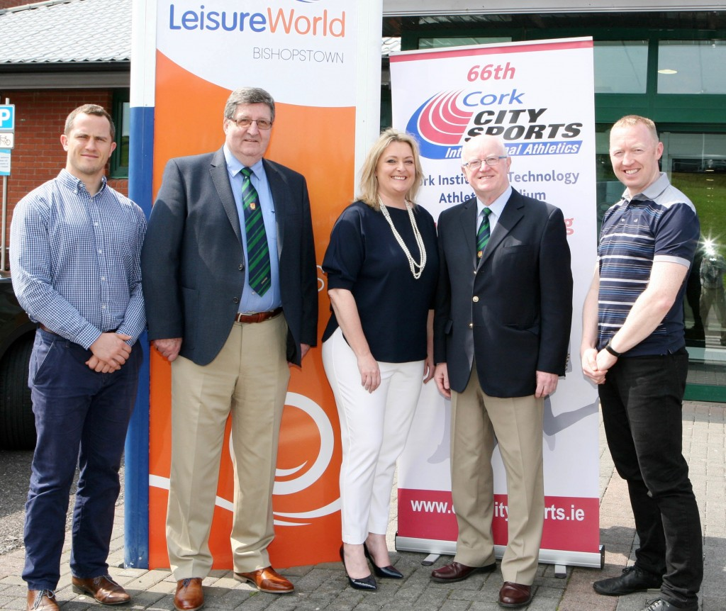 LeisureWorld to sponsor the 3000m Open Mens Race at the 66th Cork City Sports International Athletics Meeting on Tuesday the 18th July next at the CIT Athletics Stadium pictured at the announcement L to R., Ian O'Leary, Marketing Manager LeisureWorld, Terry O'Rourke, Secretary CCS. Christine Moloney, CE LeisureWorld, Tony O'Connell Chairman CCS and Mark McManus, Commercial Manager, LeisureWorld. Picture, Martin Collins.